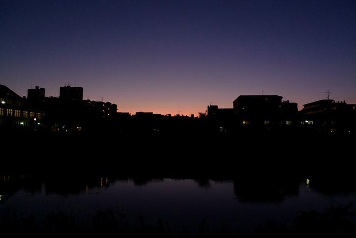 河原で見る夕暮れ